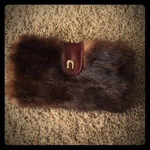 Vintage mink clutch